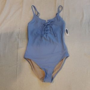 One piece front tie bathing suit